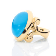 *COMING SOON* Tamara Comolli 18K Yellow Gold Small Hippie Glam Sleeping Beauty Turquoise Ring, Size 7 1/2