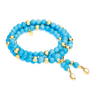 *COMING SOON* Tamara Comolli 18K Yellow Gold Medium India Sleeping Beauty Turquoise and Gold Bead Bracelet