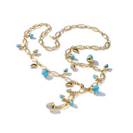 Tamara Comolli 18K Yellow Gold Mikado Sleeping Beauty Turquoise and Diamond Pave Necklace