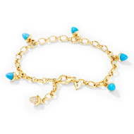 Tamara Comolli 18K Yellow Gold Mikado Sleeping Beauty Turquoise and Diamond Pave Charm Bracelet