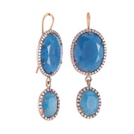 *TRUNK SHOW* Sylva & Cie. 14K Rose Gold Blue Quartz and Diamond Drop Earrings