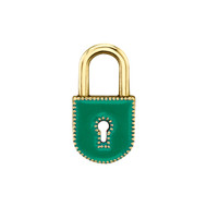 *TRUNK SHOW* Sarah Hendler 18K Yellow Gold Large Green Enamel Lock Charm
