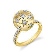 *TRUNK SHOW* Sarah Hendler 18K Yellow Gold White Diamond Pave Ethel Ring, Size 6.5