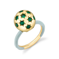 *TRUNK SHOW* Sarah Hendler 18K Yellow Gold Tsavorite Ethel Ring with Light Blue Enamel, Size 6.25
