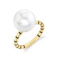 *TRUNK SHOW* Sarah Hendler 18K Yellow Gold Black Stripe Enamel Pearl Ring, Size 6