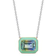 "*TRUNK SHOW* Sarah Hendler 18K White Gold 15"" Mint Enamel Framed Emerald Cut Fluorite Pendant Necklace"