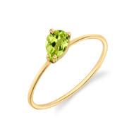 *TRUNK SHOW* Sarah Hendler 18K Yellow Gold Mini Pear Cut Peridot Stacking Ring, Size 6.75