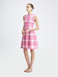 Oscar de la Renta Shadow Plaid Knit Dress in Spinel/Ivory