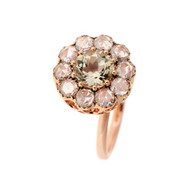 Selim Mouzannar Beirut Ring in 18K Pink Gold Set with Diamonds and Green Tourmaline, Size 6