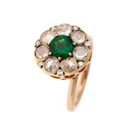 *PRE-ORDER* Selim Mouzannar Beirut Ring in 18K Pink Gold Set with Diamonds and Tsavorite