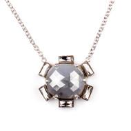 "*TRUNK SHOW* Sylva & Cie. 18K White Gold Rough Diamond Petal Pendant Necklace, 18"""