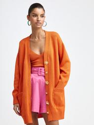 Oscar de la Renta Long Sleeve Knit Cardigan with Flower Buttons in Persimmon