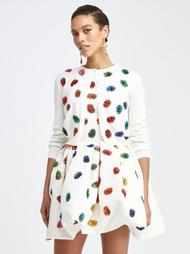 Oscar de la Renta Rainbow Embroidered Knit Cardigan in Ivory