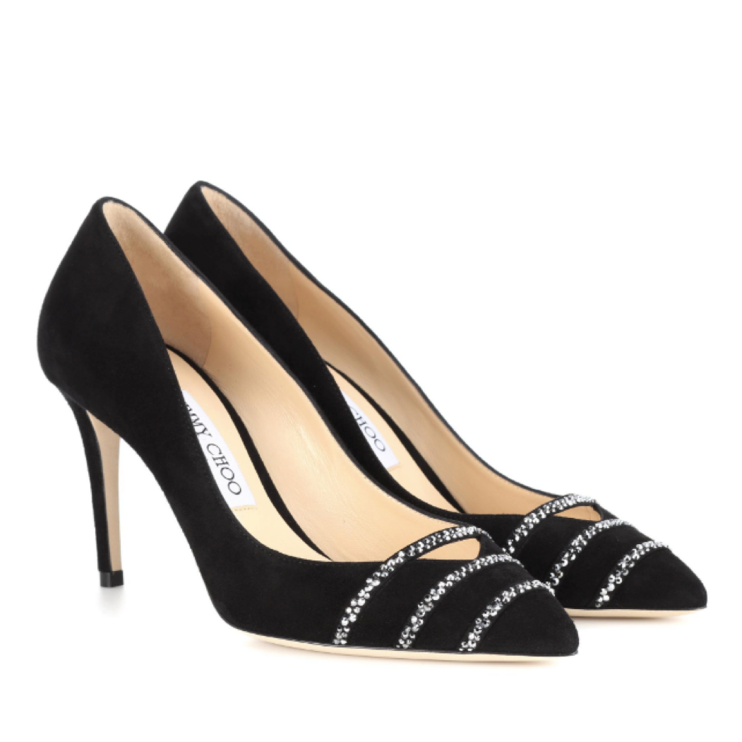 f080e81bef4 Jimmy Choo Bethan Black Anthracite Suede Pump with Crystal Detail (Bethan)