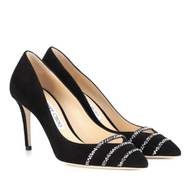 Jimmy Choo Bethan Black Anthracite Suede Pump with Crystal Detail