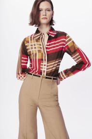 Victoria Beckham Club Collar Check Print Shirt in Brown/Red