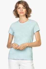 Lilla | P Back Seam Short Sleeve Tee in Steel Blue