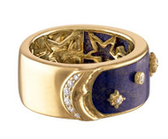 Eden Presley 14K Yellow Gold More than the Moon Half and Half Lapis and Diamond Ring, Size 7
