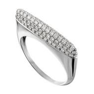 Eden Presley 14K White Gold Small Basic Eden Pave Stack Diamond Ring, Size 7