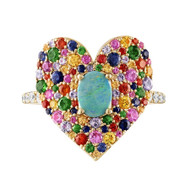 Eden Presley 14K Yellow Gold Love Luck Rainbow Statement Ring, Size 7