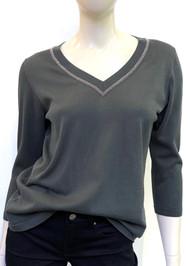 Fabiana Filippi Reversible Point Embellishment Cotton Sweater in Fern