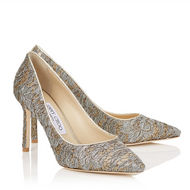 Jimmy Choo Romy Vino Silver Metallic Lace Pump