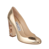 Jimmy Choo Billie Gold Pump with Embellished Nude Heel