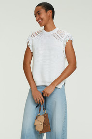 Dorothee Schumacher Chunky Knit Mix Top in Camellia White