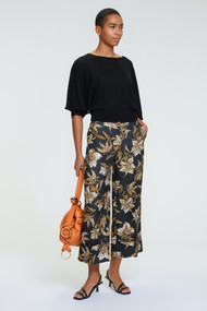 Dorothee Schumacher Structured Floral Pants in Black/Green