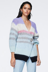 Dorothee Schumacher Airy Attitude V-Neck Cardigan in Colorful Stripes