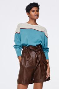 Dorothee Schumacher Cozy Comfort Color Block Crewneck Sweater in Beige/Turquoise