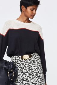Dorothee Schumacher Cozy Comfort Color Block Crewneck Sweater in Beige/Black