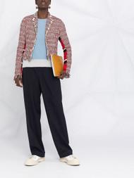 Marni Wool Blend Fringed Cropped Woven Jacket