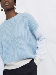 Marni Cashmere Color Block Ribbed Sweater in Artic