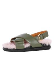 Marni Criss-Cross Fussbett Shearling Sandals in Dusty Olive/Quartz