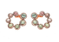 *COMING SOON* Selim Mouzannar Beirut Circle Earrings in 18K Pink Gold Set with Diamonds and Tourmalines