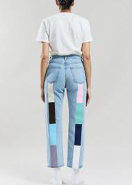 Still Here Pastel Rainbow Tate Crop Jeans in Vintage Blue
