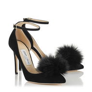 Jimmy Choo Rosa Black Suede Pump with Clip on Fur