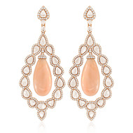 *POP UP EVENT* Sutra 18K Rose Gold Pink Opal and Diamond Drop Earrings