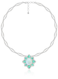 *POP UP EVENT* Sutra 18K White Gold Paraiba, White Opal and Diamond Necklace