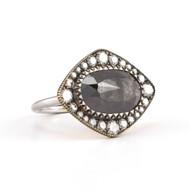 *TRUNK SHOW* Sylva & Cie. 18K Yellow and White Gold Rough Diamond Susans Ring, Size 7