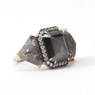 *TRUNK SHOW* Sylva & Cie. 18K Yellow and White Gold Triple Rough Cut Diamond Ring, Size 7
