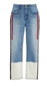 Hellessy Creed Half-Bleached Grosgrain Trimmed Boyfriend Jeans