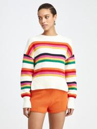 Oscar de la Renta Striped Cotton Pullover