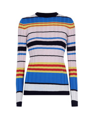 Marni Striped Ribbed Knit Wool Sweater in Light Pink