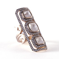 *TRUNK SHOW* Sylva & Cie. 18K White Gold Long Triple Rough Cut Ten Table Ring, Size 7.75