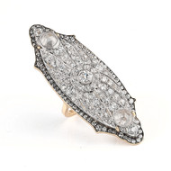 *TRUNK SHOW* Sylva & Cie. 18K Yellow Gold and Platinum Vintage Estate Pin Ring, Size 6.5