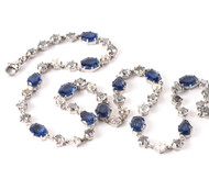 *TRUNK SHOW* Sylva & Cie. 18K White Gold Old European Cut Grey Diamond Sapphire Necklace