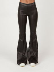 Rosetta Getty Pull on Pintuck Flare Leather Pants
