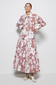 Jonathan Simkhai Tina Poplin Shirt in Shadow Sienna Floral